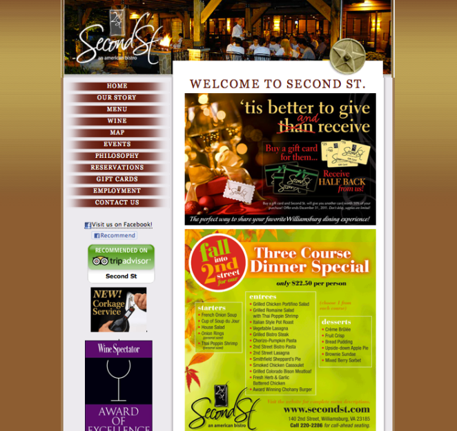 Second St. American Bistro Homepage - Click the picture to see the website for yourself